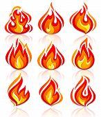Brand vlammen nieuwe set, met reflectie