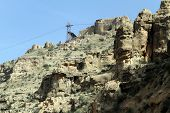 foto of zoroastrianism  - Chairlift and ruins of zoroastrian temple Qal - JPG