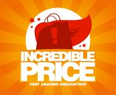 Incredible price, sale design template with shopping bag as a superhero.