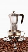 Cups Resting On Coffee Beans With Percolator poster