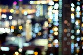Blurred unfocused city view at night