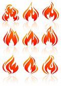 Brand vlammen, set rode pictogrammen