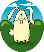 picture of buck teeth  - Cartoon vector bunny with buck teeth on the grass - JPG