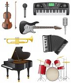 stock photo of trumpet  - set icons of musical instruments vector illustration isolated on white background - JPG