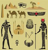 Egypt Symbols and  Landmarks - Icons of Egypt, ancient and new, including Giza pyramids, desert, caravan, Anubis and Hathor