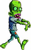Cartoon stalking zombie writ ripped clothes