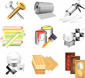 building materials icons detailed vector set