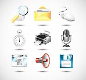 computer system icons detailed vector set