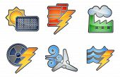 foto of hydro  - A set of color icons with relating to power and energy generation - JPG
