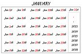 January Month Dates