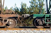 Railway Train Cars. Automatic Coupling