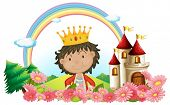 stock photo of yellow castle  - Illustration of a king in front of a castle on a white background - JPG