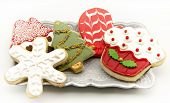 stock photo of serving tray  - Cookies decorated with Christmas themes served on a tray - JPG