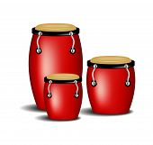 image of congas  - Congas band in red design with shadow on white background - JPG