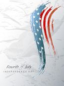 4th July, American Independence Day background with wave in flag colors on grungy grey background.