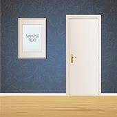 White Door And Framework On Vintage Wall Background. Vector Design.