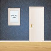 White Door And Framework On Vintage Wall Background. Vector Design.