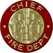 Fire Department Chief Collar Brass in Red and Gold
