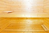 stock photo of swedish sauna  - Classic Sweden style wooden sauna cabin in home - JPG