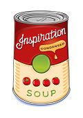 picture of condensation  - Can of condensed tomato soup Inspiration isolated on white background.