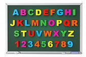 Alphabet Toy Magnetic Letters Over Blackboard