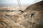 foto of masada  - View of the Dead Sea and the cable car to the Masada fortress Israel - JPG