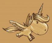 Esboço Doodle unicórnio pônei cavalo arte ilustração vetorial