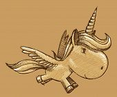 Sketch Doodle Unicorn Pony Horse Vector Illustration Art