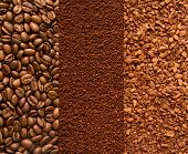 image of coffee crop  - coffee beans ground coffee and instant coffee background - JPG