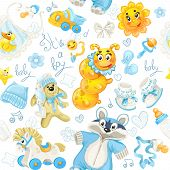 Seamless Pattern Of Clothing, Toy And Stuff It's A Boy