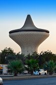 Water Tower in Jeddah with trees and palms