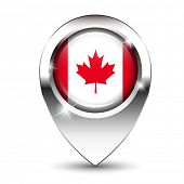 Canadian flag on glossy map pin, against white background with shadow. EPS10 vector format