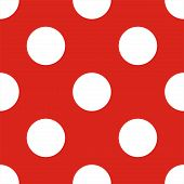Retro vector seamless pattern or texture with big white polka dots on red background.