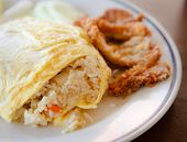 Fried Rice Wrapped By Omelet On The White Dish