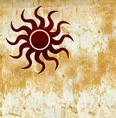 Hot Red Grunge Sun Symbol On Burned Golden Background