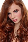 pic of red hair  - Portrait of beautiful young girl with gorgeous red curly hair - JPG