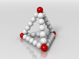 pic of tetrahedron  - 3d generated illustration of tetrahedron buildup with red and white balls - JPG