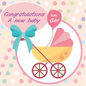 vector card new born baby girl.