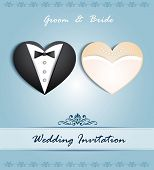 Vector wedding card in the form of heart with tuxedo and dress