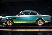 MUNICH, GERMANY - JUNE 17, 2012: Bmw 3.0 Csi Coupe Automobile On Stand In Bmw Museum in June 17th ,