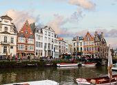 Graslei harbor in old town  , Ghent