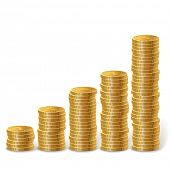 Raising stacks of golden coins isolated on white background.