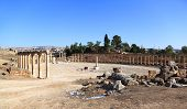 stock photo of cardo  - The Oval forum at the roman ruins of Jerash in Jordan - JPG