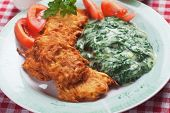 Latke, potato pancakes with creamy spinach mash