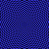 Abstract blue background. Rotation movement illusion. Vector art.