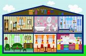 cute house in a cut. vector illustration