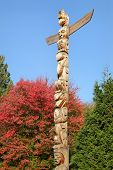 stock photo of totem pole  - Stanley Park totem pole - JPG