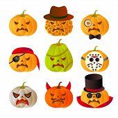 Set Of 9 Halloween Carved Pumpkins.