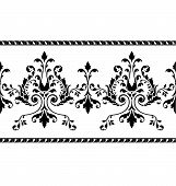 stock photo of scrollwork  - Floral lace border edge for frame or wedding party invitation - JPG