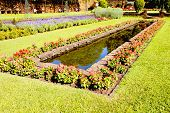 Landscaped Formal Garden With Rectangular Fish Pond